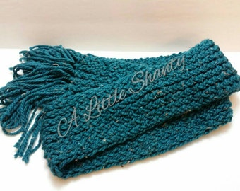 Long Knitted Teal Scarf/Winter Scarf/Knitted Scarf