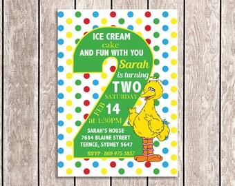 Big Bird - Sesame Street Birthday Invitation | 2nd Birthday - SS01-6