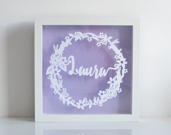 Framed Floating Bunny Rabbit Wreath Personalised Paper Cut