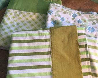 3 Vintage Flat Sheets (Green & Blue)