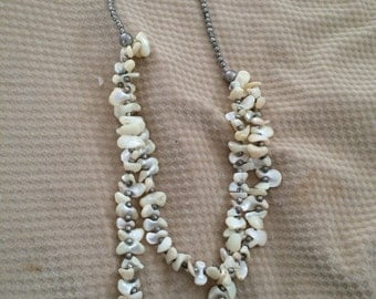 shell necklace with silver beading/ chain