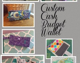 SALE!!- Custom Fabric Cash Budget Wallet/ Coupon Wallet/ Dave Ramsey System / Organized Wallet
