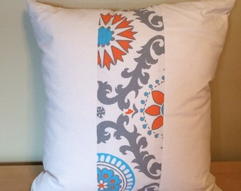 "22"" square Boho and canvas Accent Pillow Cover"