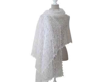 White Hand Knitted Mohair and Silk Lace Bridal Shawl, Hand Made Wedding Lace Wrap, Oversized Lace Blanket Scarf, Winter Bride Lace Stole