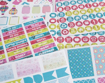 SORBET 241 functional stickers, floral planner stickers kit set, daily chore header full box checklist eclp filofax happy planner kikkik