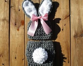 Crochet Bunny Set Newborn Baby Bunny Hat and Diaper Cover Crochet Bunny Baby Crochet Hat Photo Prop Easter Costume