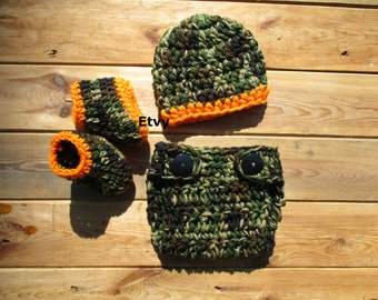 Crochet Hunter Set Baby Hunter Outfit Baby Boy Camo Set Newborn Photo Prop Camouflage Baby Hat Baby Hunting Hat Knit Camo Hat Handmade