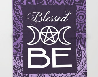 Blessed BE Cozy Throw Blanket wicca pagan witch magick blanket home decor funky purple