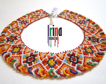 Ukrainian traditional necklace. Beaded collar. Silyanka. Gerdan