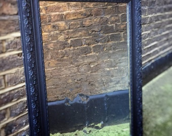 Ornate Gustavian Scandinavian distressed mirror with black frame