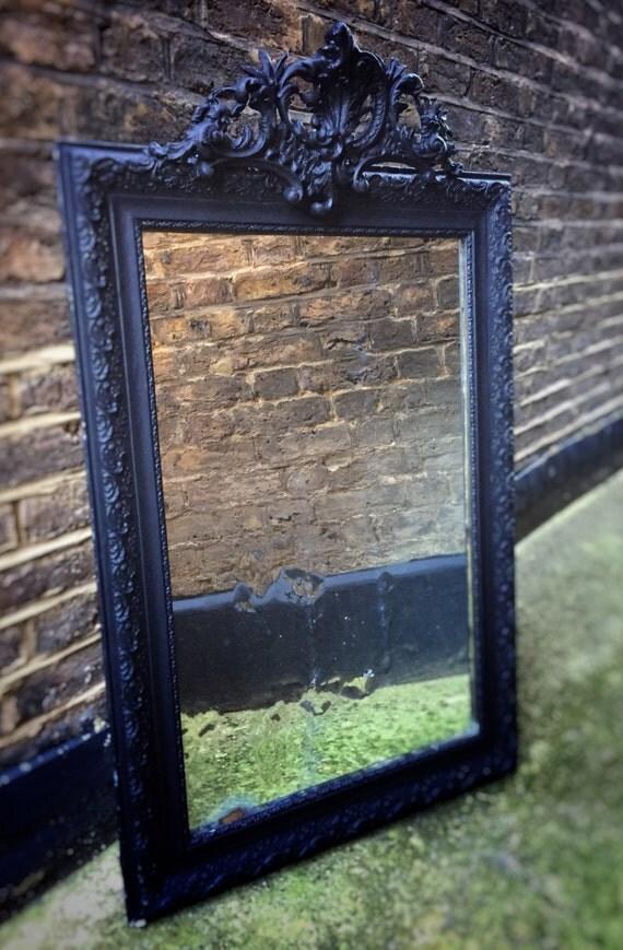 Ornate Gustavian Scandinavian distressed mirror with black frame