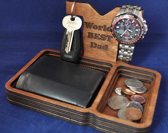 Wooden Valet Tray with removable Back Stand: Choice of Colours. Keys, Wallet, Keys, Change, Watch