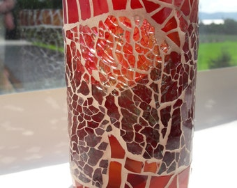 Mosaic candleholder,  from recycled winebottle Nr. 255