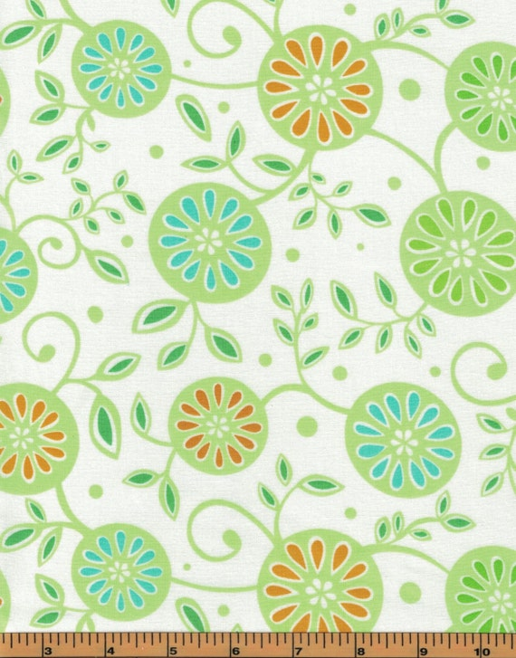 Green Flowers on White Background - Monaco Collection- Red Rooster ... : high quality quilting fabric - Adamdwight.com