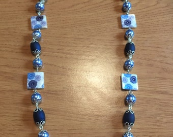 Beaded blue funky necklace