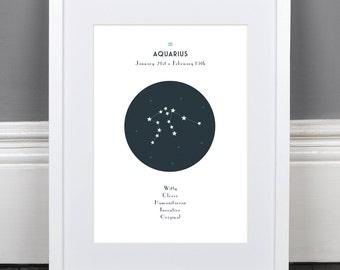 Aquarius Zodiac Constellation Print