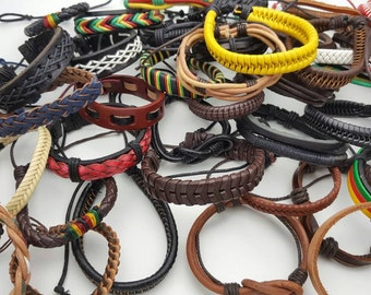 40 pcs Wholesale  Leather bracelets Handmade.