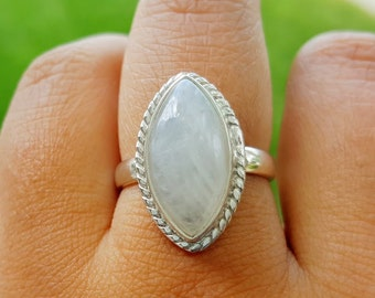 Moonstone Ring -  Marquise Ring - Moon Stone Ring - Sterling Silver Ring - Moonstone Jewelry- Gift for Her