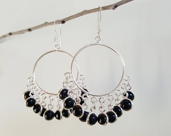 Sterling Silver Dangle Earrings - Black Earrings - Black Onyx Earrings - Chandelier Earrings - Gypsy Earrings - Boho Earrings - Bohemian