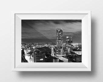 Manchester at Night / Mancunian / Cityscape / Northern / Urban / Wall Art / MCR / Beetham Tower / GMEX / Great Northern / Fine Art Print