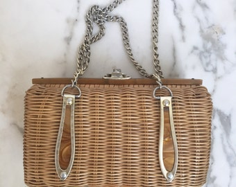 1960s Wicker Handbag with Brown Lucite Details