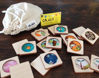 Learning game, memory in wood and fabric, travel game, thematic choice, gift custom for children 3 years and older.