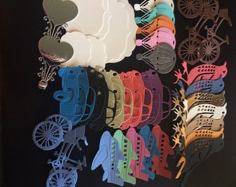 Pack of assorted die cuts, different designs and colours