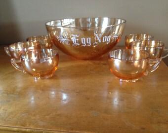 SALE Vintage Jeannette Marigold Amber Iridescent Carnival Glass Egg Nog Punch Bowl Set 5-cups