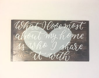 What I love most about my home-wooden sign