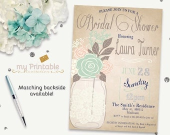Rustic Mason Jar Invitation / Digital Printable Birthday Invite for Bridal Shower / DIY Party