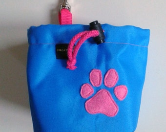 Blue dog treat pouch with a paw motif