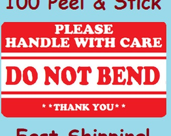 """Qty 100 2"""" x 3"""" Red DO NOT BEND Thank You! Shipping Label/Sticker"""