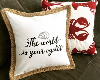 The World is Your Oyster Pillow - White