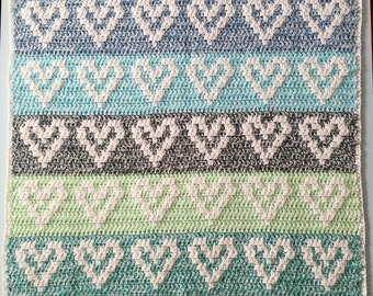 Heart Baby Blanket CROCHET PATTERN, PDF, Crochet Pattern Baby Blanket, Crochet Heart Blanket, Hearts Baby Blanket Pattern, Heart Pattern