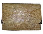 Beige Snake Mock croc clutch handbag,Vintage Italian Leather