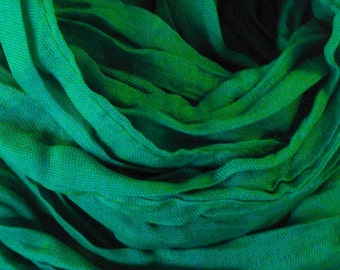 FREE Shipping Emerald Green Crinkled Cotton | Linen Scarf Handmade and SuperSoft with Travel/Giftable Bag