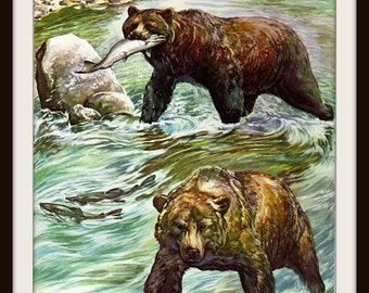 Grizzly Bears Book Print (1946), Frameable Wall Art, River Salmon, Nature Home Decor, Rustic Cabin, Mountain Lodge, Masculine Male, Animals