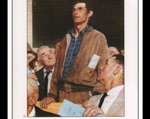 """Norman Rockwell Book Plate Print """"Freedom Of Speech""""  1987 Illustration Frameable Wall Art Decor Large 9.5"""" x 13"""""""