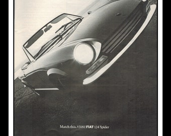 "Vintage Print Ad October 1968 : Fiat 124 Spider Car Automobile Wall Art Decor 8.5"" x 11"" Advertisement"