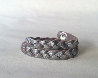 Gunmetal Silver Braided Leather Bracelet Wrap