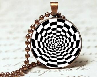 Black & white hypnotic swirl pendant necklace, retro design pendant necklace