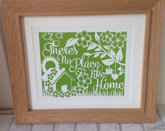 Housewarming gift, home papercut, our first home, there's no place like home, gift for homeowners, home sweet home gift, first home gift.