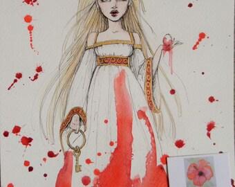 Fitcher's Bird fairy tale illustration fantasy original art