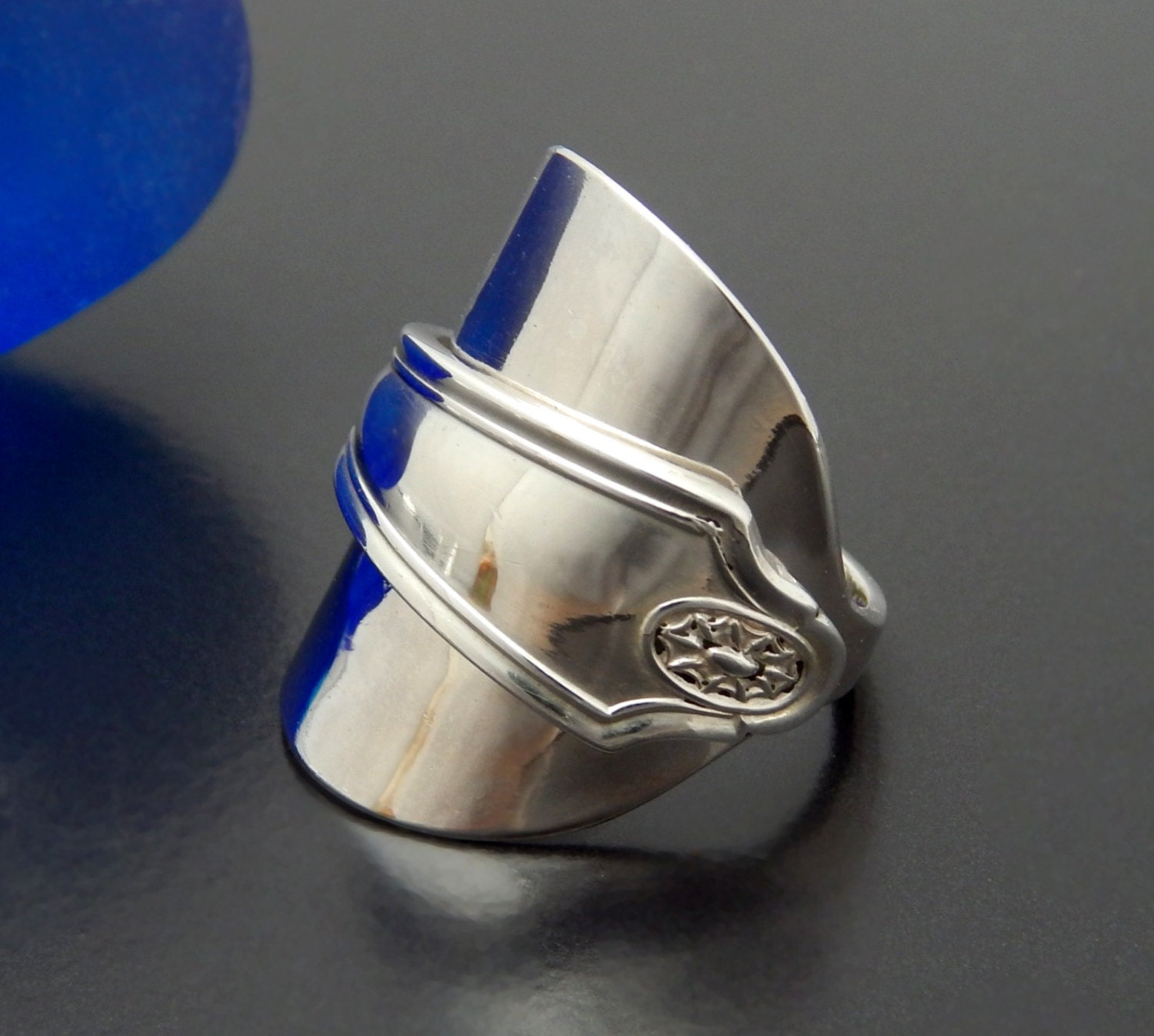 solid silver spoon ring thumb ring vintage