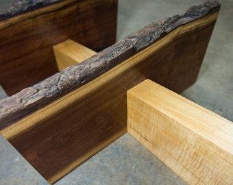 Black Walnut Stingray Shelf with Curly Maple Spine