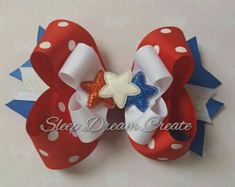 Fourth of July Hair Bow - Red White and Blue - Glitter Stars - Girls Hair Bow - Boutique Bow