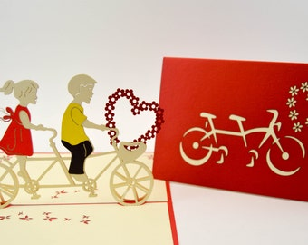 Anniversary Card - Love Card - Good Greeting Card - I Love You Card - Valentines Day Card-Love Bicycle - Adventure LOVE- Wedding Card