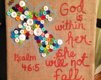 Button cross with Scripture