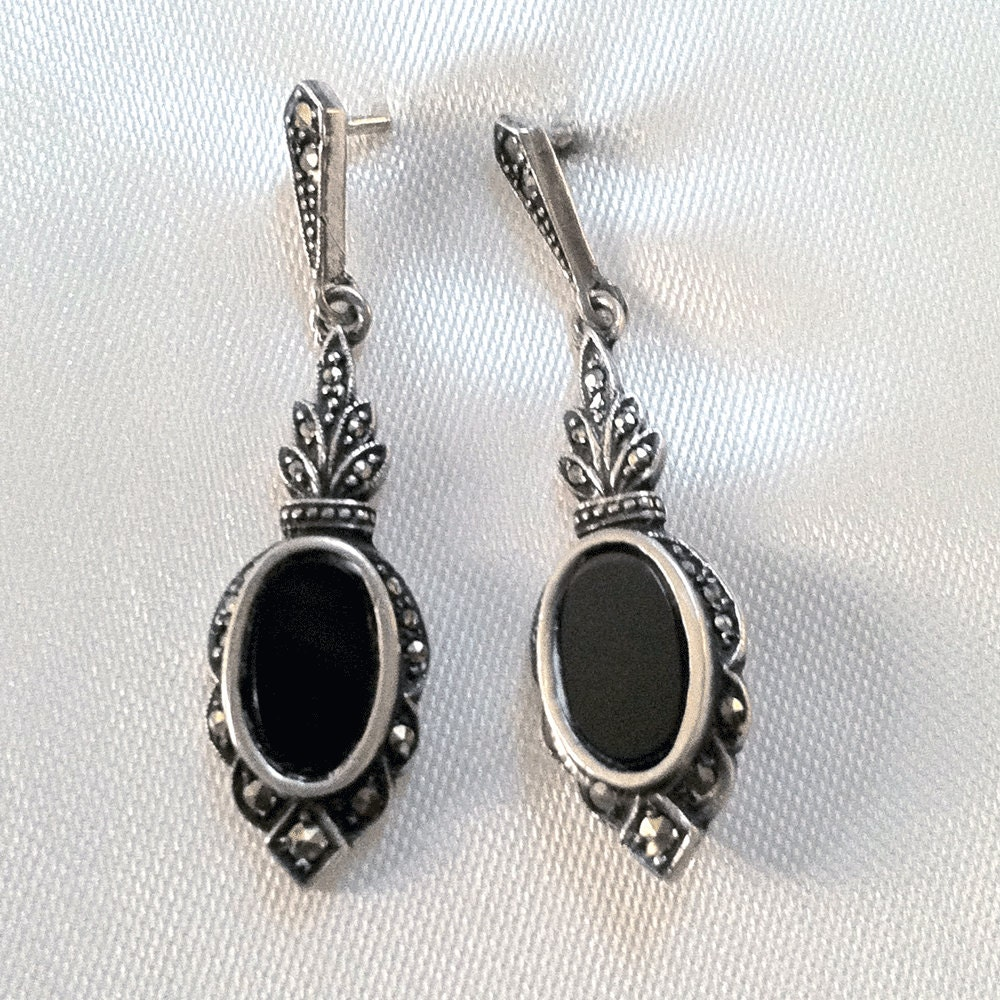 SALE Sterling Marsala Onyx Marcasite Dangle Earrings Gothic