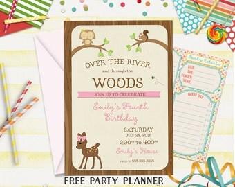 Birthday Invitation, Woodland Party Invitation, Girls Birthday Invitation, Woodland Invitation, Kids Invitation, 1st Birthday, 2nd Birthday